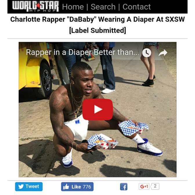 DaBaby aka @babyjesus704  went viral,  Walking Around 6th Street in Austin, TX at SXSW in a Diaper. Check it ou PLUS New Single!